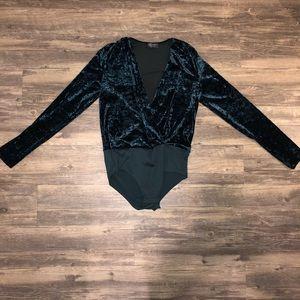 ZARA Emerald Crushed Velvet Bodysuit Longsleeve